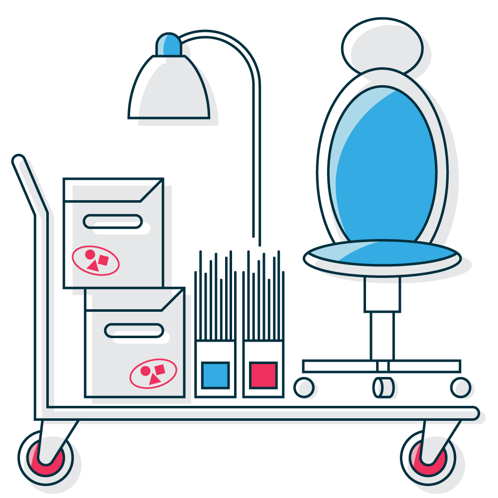 business self storage graphic with typical business items for storage like folders, office chairs, and office furniture.