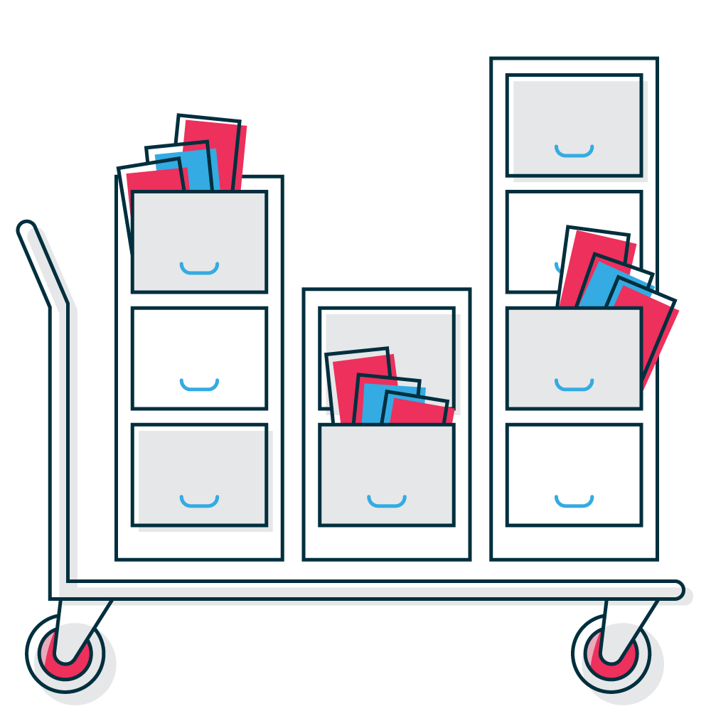Document storage graphic with typical items for document storage like files and folders.