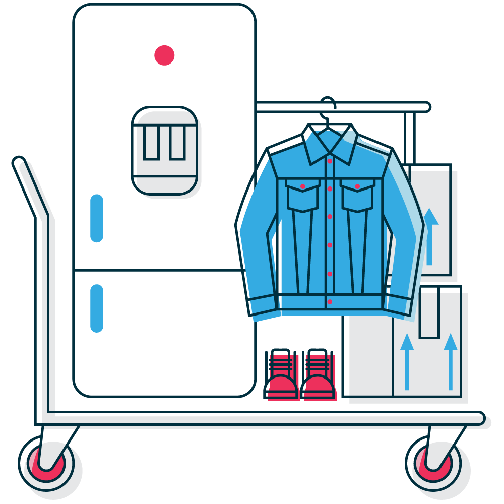 Personal self storage graphic with typical personal items for storage like clothes, furniture, and white goods.