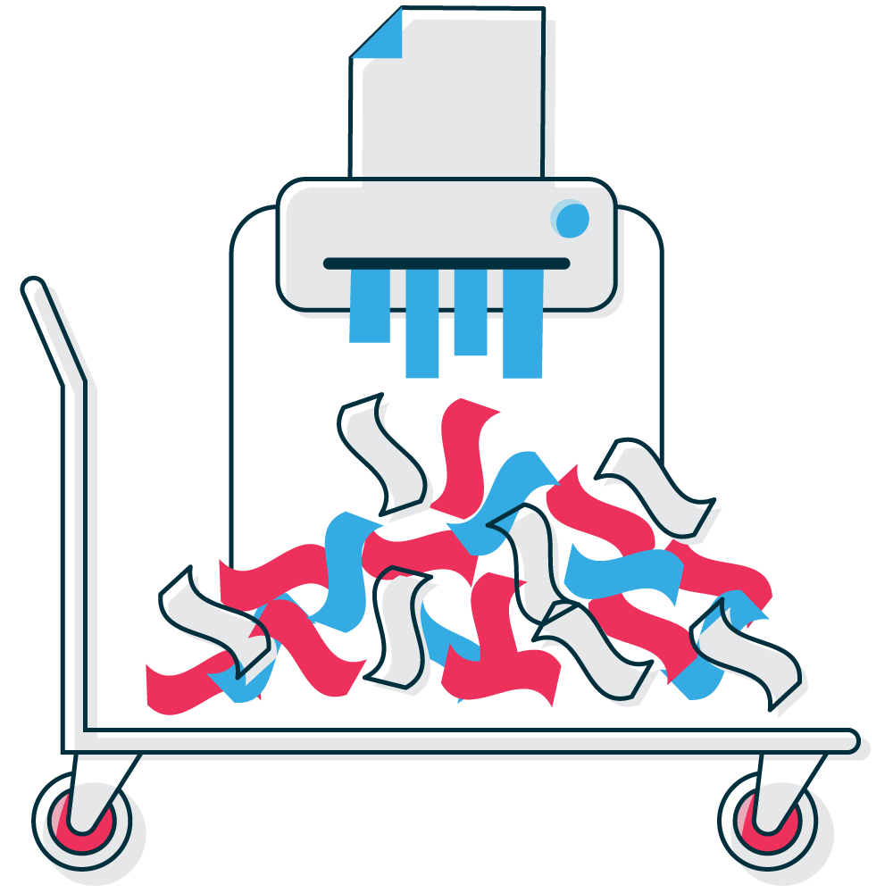 Shredding graphic with typical items for shredding like sensitive information on files and folders both hard and soft copy.