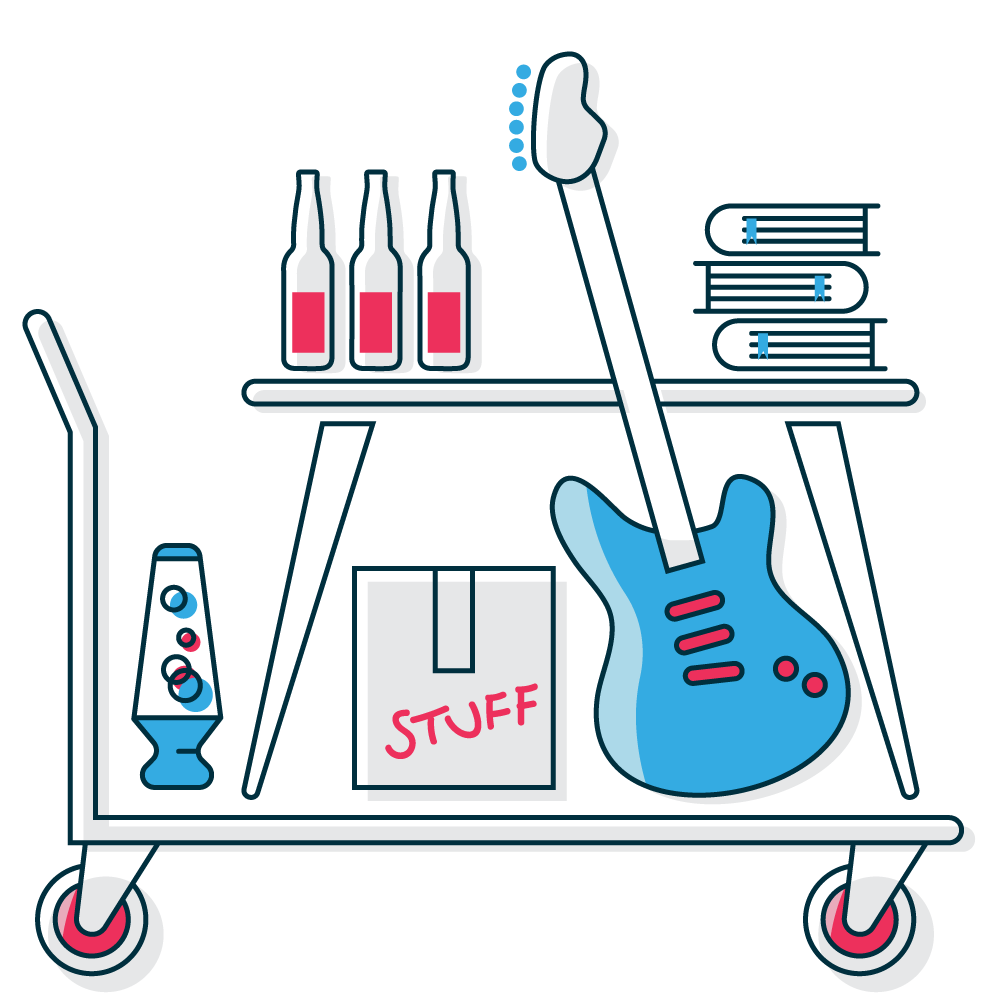 Student self storage graphic with typical student items for storage like clothes, books, computer chairs and desks, beds, wardrobes, instruments, and other things.